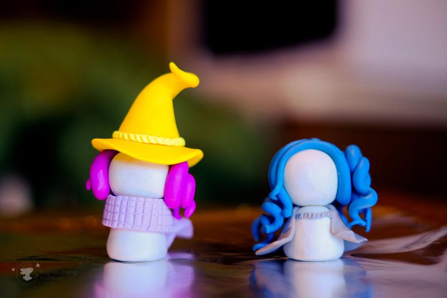 two polymer clay figurine girls - ting fen zheng